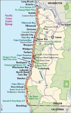 Oregon Scenic Drives: Pacific Coast Scenic Byway View Enlarged Image This map outlines what you'll see along the Pacific Coast Scenic Byway. Oregon Travel, Oregon Vacation, Oregon Road Trip, Road Trip Usa, Travel Usa, Oregon Coast Roadtrip, Oregon Map, Seaside Oregon, Newport Oregon