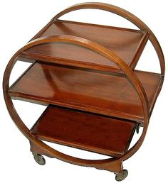 "English 1930's Art Deco circular ""Savoy""  trolley."