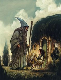 """Illustration by Cory Godbey.  """"Good morning!"""" said Bilbo, and he meant it.  """"What do you mean?"""" [Gandalf] said.  """"Do you wish me a good morning, or mean that it is a good morning whether I want it or not; or that you feel good this morning; or that it is a morning to be good on?""""  """"All of them at once,"""" said Bilbo.  - J.R.R. Tolkien"""