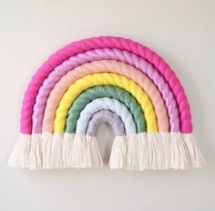 Check out our rainbow wall hanging selection for the very best in unique or custom, handmade pieces from our shops. Rainbow Wall, Diy Hanging, Mason Jar Diy, Valentines Diy, Mobiles, Bunt, Fiber Art, Etsy, Diy And Crafts