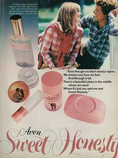 1978 Perfume Ad, Avon's Sweet Honesty Fragrance & Body Products, with Cute Teen Girl & Guy Vintage Makeup, Vintage Avon, Vintage Perfume, Vintage Beauty, Retro Advertising, Retro Ads, Vintage Advertisements, Perfume Glamour, Perfume Ad