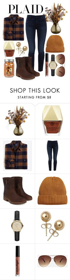 """""""November December pretty soon it'll be September"""" by colorful-kate ❤ liked on Polyvore featuring Kendra Scott, Jen7, Timberland, Burberry, Bling Jewelry, NYX, Ashley Stewart and Holiday Memories"""