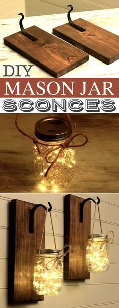 DIY Mason Jar Sconces -- A lot of DIY mason jar crafts, ideas and projects here! Some really great home decor and gift ideas. Listotic.com #ChristmasDIYcrafts