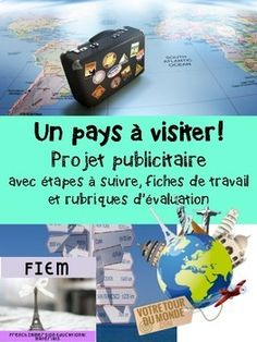 A COMPLETE PROJECT! With ALL THE STEPS TO FOLLOW, STUDENT WORKSHEETS and EVALUATION RUBRICS for the written work and oral presentation. Ready to print or use as a slide show! EVERYTHING YOU NEED IS THERE!French Immersion: French & Social Studies. This is a multidisciplinary project.Students are asked to help a local travel agency to produce travel brochures based on a country they would like to visit. Evaluation, French Immersion, Travel Brochure, Travel Agency, Rubrics, Brochures, Social Studies, Worksheets, Presentation