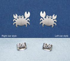 This tiny Crab earrings was 100% handmade with 925 sterling silver. They come with sterling silver posts and earnuts. The little Marine life measures approx. 10mm x 8mm x 0.6mm with 20 gauge. And smooth polished or brushed finish for your choose. (L)Left side or (R)Right side for you to