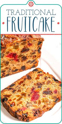 This easy Christmas fruitcake is perfect for the holidays. It's light, tender, and full of dried fruits and nuts. Sprinkle the loaf with brandy, or leave it out! Either way, this fruit cake is a welcome addition to the holiday table. Christmas Fruitcake, Christmas Sweets, Christmas Baking, Christmas Fruit Cake Recipe, Christmas Decor, Dried Fruit Cake Recipe, Easy Fruit Cake Cookies Recipe, English Fruit Cake Recipe, Food Cakes