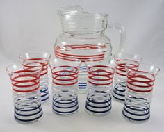 Vintage Anchor Hocking Red White Blue Tumblers and by ByGoneYears, $65.00