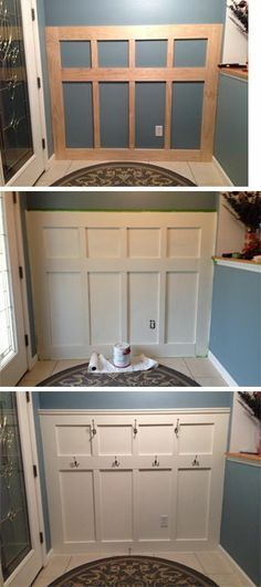 Board and Batten foyer wall in three steps! 1) Prep wall by removing baseboard. Attach 1x3 and 1x6 to the wall using wood glue and nail into studs. 2) Prime and paint boards and wall space between boards 3) Attach hooks, door stop, and molding.