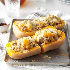 Sausage-Stuffed Butternut Squash Recipe -Load butternut squash shells with an Italian turkey sausage and squash mixture for a quick and easy meal. Even better, it's surprisingly low in calories. —Katia Slinger, Columbus, Georgia