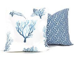 Items similar to Blue Coral Decorative Pillow Cover, Eurosham, lumbar pillow Throw Pillow, Toss Accent Cushion Lacefield Textiles on Etsy Pillow Fabric, Lumbar Pillow, Throw Pillows, Feather Pillows, Coral Blue, Decorative Pillow Covers, Soft Furnishings, Shades Of Blue, Pillow Inserts