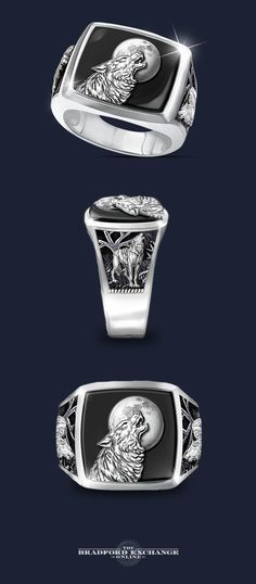 """Summon the wisdom and power of the noble wolf with this handsome men's ring. Handcrafted of solid stainless steel with an impressive portrait of a howling wolf against genuine black onyx, this original Bradford Exchange jewelry design gives new meaning to the expression """"Into the Wild."""""""