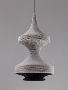 grey knitted lampshade by naomi paul
