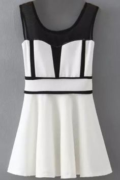 LUCLUC White Scoop Sleeveless Panel Dress Panel Dress 6d8c4792e