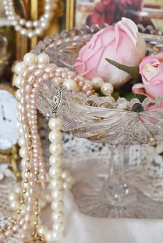 pastel pink roses and pastel pink pearls...pretty
