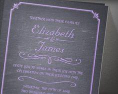 Lavender Chalkboard Wedding Invitation
