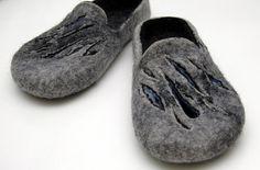 Gray Black Slippers for Him by jurgaZa on Etsy