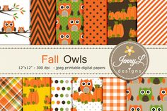 Fall Owl Autumn Digital Papers by JennyL Designs on @creativemarket