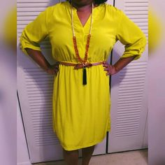 SALEOld Navy Dress - Neon Yellow Dress - 100% Polyester shell and lining - 3/4 Sleeve - Two Pockets Old Navy Dresses