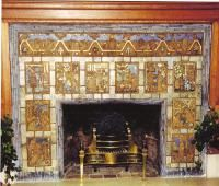A Detroit Landmark Library Fireplace, Fireplace Ideas, Fireplace Mantels, Fireplaces, Fireplace Tile Surround, Fireplace Surrounds, Pewabic Pottery, Craftsman Houses, Detroit History