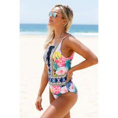 24f41563a2fe1 Buy Cali Chic Juniors  Swimsuit Celebrity Mesh V Neck Tropical One Piece