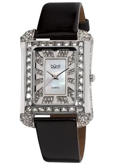 Price:$104.57 #watches Burgi BUR063SS, This Burgi ladies rectangular quartz watch is designed with beautiful baguettes on the bezel. The mother of pearl dial and crystal accents complete this timepiece.