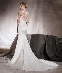 Atenas - Vestido de novia con encaje, bordado y pedrería