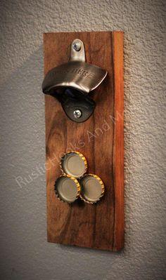 Wall Mount Bottle Opener. Magnetic Bottle Opener. Bottle Opener. Wooden Bottle Opener. by RusticHooksAndMore on Etsy