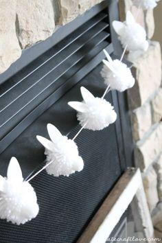 "The Chic Technique: {DIY} Bunny Pom Pom Garland screams ""Hoppy"" Easter! Easter Garland, Pom Pom Garland, Easter Wreaths, Diy Easter Bunting, Bunny Crafts, Easter Crafts For Kids, Easter Ideas, Diy Girlande, Diy Easter Decorations"