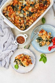 Swiss Chard and Gruyere Strata is a make-ahead vegetarian breakfast casserole. Vegetarian Breakfast Casserole, Breakfast Bake, Casserole To Freeze, Make Ahead Freezer Meals, Tasty Vegetarian Recipes, Vegan Main Dishes, Gluten Free Dinner, My Favorite Food, Crowd