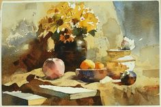 【Golden Still Life】Watercolour.Demo By Chien Chung Watercolor Sketchbook, Watercolor Artwork, Watercolour Painting, Watercolor Flowers, Watercolors, Academic Drawing, Painting Still Life, Illustrations And Posters, Beautiful Artwork