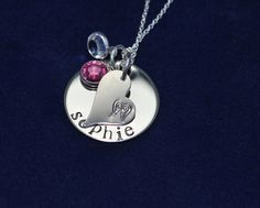 Personalized Sterling Silver charm necklace with heart and angel wings $30.00