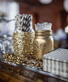 Gold mason jar for Oscars Party