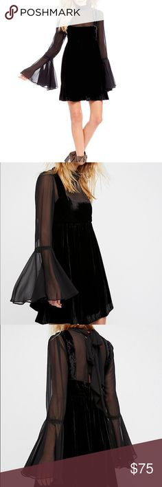 "Free People Counting Stars Bell Sleeve Dress L Free People   Counting Stars Bell Sleeve Dress Size L Velvet dress featuring mesh front, back and sleeves Crewneck Long bell sleeves Self-tie closure at back cutout Armpit to armpit approx 20"" Length approx 34"" Retail price $168 New with tag  (B) Free People Dresses Long Sleeve"
