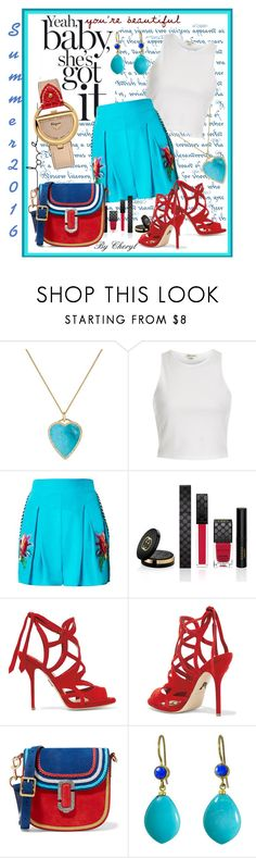 """""""Untitled #1828"""" by cheryl-astablewoman ❤ liked on Polyvore featuring Jennifer Meyer Jewelry, River Island, Matthew Williamson, Gucci, Paul Andrew, Marc Jacobs, Mallary Marks and Salvatore Ferragamo"""
