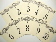 French Country Wedding Table Number Cards by papergirlstudios, $15.00