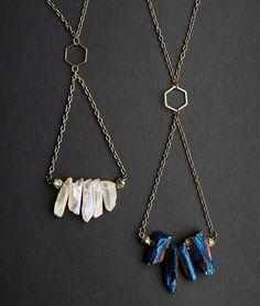 Blue Quartz Trapeze Necklace Raw Quartz Necklace by AdamRabbit