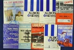 1968 and 1969 West Bromwich Albion FA Cup football programmes (H&A) - to include complete run 10x H & A incl replays right thro' to the 1968 Final (1)v Everton (0) plus 5x 1969 FA Cup ties to incl Semi Final v Leicester (Hillsborough), 6th rd v Chelsea (A), 5th rd v Arsenal, 4th rd v Fulham (A), and 3rd rd v Norwich City