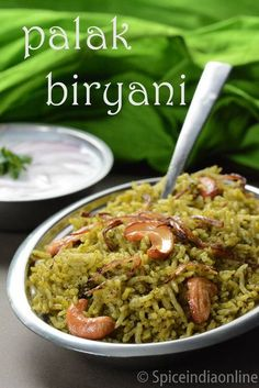 Palak Biryani Recipe - How to make Spinach Biryani If you want your kids to eat spinach, you must try this biryani recipe. It not only tastes amazing but also helps providing all the nutritional benefits. Veg Recipes, Curry Recipes, Easy Chicken Recipes, Vegetarian Recipes, Cooking Recipes, Healthy Recipes, Recipies, Lunch Box Recipes, Healthy Soup