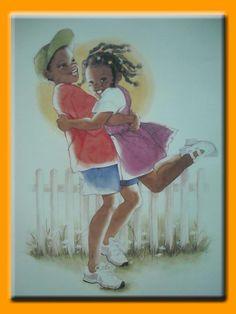 Sunshine Smiles Boy 12 x 16 African American Art Print Sylvia Walker