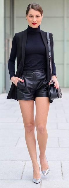 Black Blazer, Black Turtleneck, Black Leather Shorts, Silver Heels | Véjà Du
