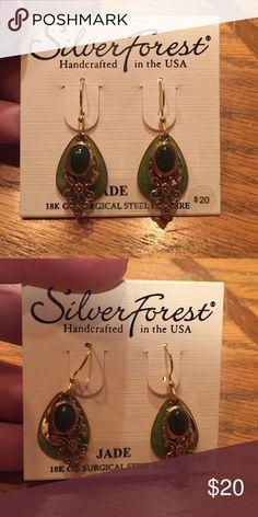 Silver Forest Jade earrings Silver Forest Jade Earrings. 18K on surgical steel wire. Silver forest Jewelry Earrings