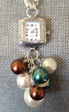 Vintage Watch Multi Pearl Bauble Watch Necklace on Etsy - Multi Pearl Bauble Watch Necklace Brown, Teal and Ivory Pearls Vintage Jewelry Crafts, Recycled Jewelry, Old Jewelry, Jewelry Art, Beaded Jewelry, Jewelery, Handmade Jewelry, Jewelry Design, Beaded Watches