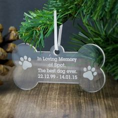 Personalised Acrylic Dog Bone Decoration - Just The Right Gift Christmas Tree Decorations, Christmas Ornaments, Holiday Decor, Hanging Decorations, Christmas Ideas, Christmas Gifts, In Loving Memory Gifts, Personalised Christmas Baubles, Special Symbols