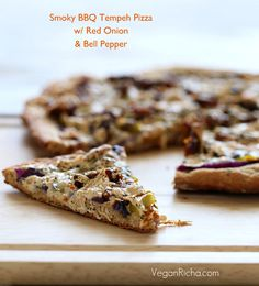Smoky BBQ Tempeh Pizza with Red onions, Bell peppers