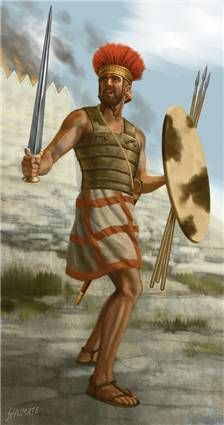 Philistine Warrior 1000 BCE, by Johnny Shumate. It is likely that the Philistines were the same Sea Peoples that devastated the Hittite empire, sacked Ugarit and attacked Egypt in force. Their arrival in Palestine as conquerers does coincide with the Sea Peoples' defeat in the Nile delta by Ramses III. They may even have been settled by the victorious Egyptians in territory the Pharoah viewed as his own, to perhaps bring the disorderly Canaanite and Hebrew tribes into line.