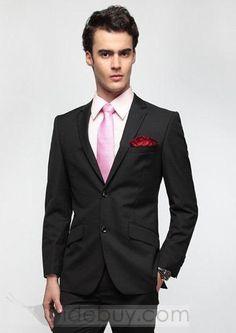 Smart 2 Button Plain Slim Fit Suit (Two Piece Set) : Tidebuy.com