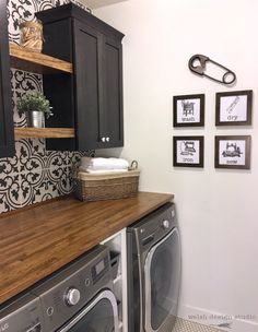 Welsh Design Studio – laundry room makeover Basement Laundry Room ideas for Small Space ( Laundry Room Tile, Laundry Room Remodel, Basement Laundry, Room Tiles, Laundry Room Organization, Laundry Room Design, Laundry Room Shelving, Laundry Room Wall Decor, Modern Laundry Rooms