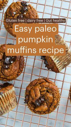 Paleo Pumpkin Muffins, Pumpkin Muffin Recipes, Healthy Pumpkin Pies, Gluten Free Pumpkin, Vegan Pumpkin, Dairy Free Recipes, Paleo Recipes, Whole Food Recipes, Healthy Fiber