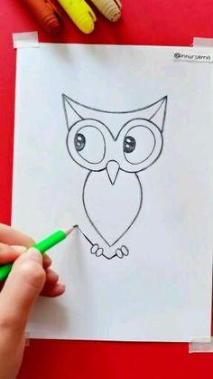 Art Drawings Beautiful, Art Drawings Sketches Simple, Pencil Art Drawings, Doodle Drawings, Colorful Drawings, Easy Drawings For Kids, Drawing For Kids, Owl Drawing Easy, Easy Animal Drawings