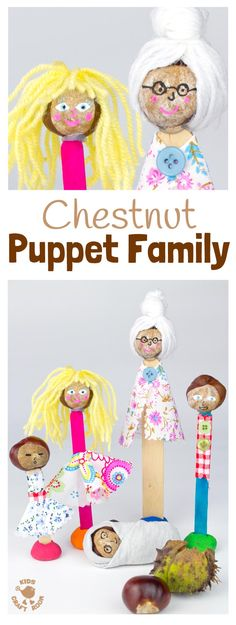 HOMEMADE PUPPETS CHESTNUT CRAFT - Make a Puppet Family with this fun and creative chestnut craft for kids. Chestnut puppets give kids hours of imaginative play & story telling. A fun Fall craft for kids. #fall #fallcrafts #autumn #autumncrafts #buckeyes #conkers #horsechestnuts #naturecrafts #puppets #puppetcrafts #kidscrafts #craftsforkids #kidsactivities #kidscraftroom  #chestnuts #chestnutcrafts #dolls #homemadetoys #toys